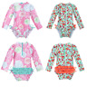 Infant Baby Girl One-piece Swimsuit Floral Swimwear Rash Guard Bathing Swimming