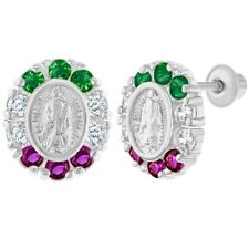 Rhodium Plated Virgin Mary Lady of Guadalupe Crystal Screw Back Earrings