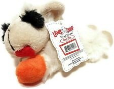 "Multipet Small Lamb Chop Plush Dog Toy Squeaky Squeaker White Orange 6"" long NEW"