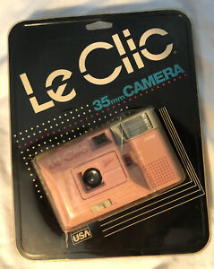 Vintage 1980's Pink Le Clic 35mm Built In Flash Film Camera New In Package