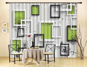 Black White Picture Frame 3D Curtain Blockout Photo Print Curtains Drape Fabric