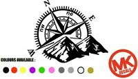 Large Compass with Mountains Vinyl Decal Navigation Sticker Camper Van Motorhome