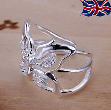 925 Sterling Silver Ring Adjustable Thumb Finger Butterfly Band Gift UK