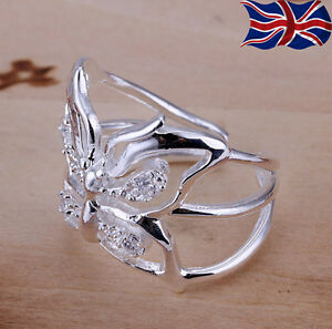 925 Sterling Silver plated Ring Adjustable Thumb Finger Butterfly Band Gift UK