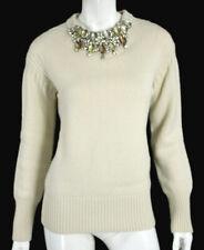 BURBERRY PRORSUM Cream Cashmere Jeweled Crew Neck Knit Sweater L