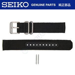 Seiko Watch Strap f/ SNK809 SNK807 SNK815 7S26-02J0 18mm Black Nylon Fabric Band