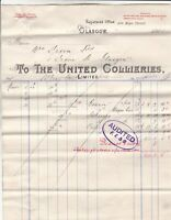 TO THE UNITED COLLIERIES LIMITED, Glasgow 1905 With Deductions invoice Ref 49219