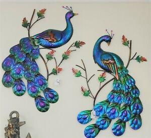 "DeJon Metal Wall Art Decor Beautiful Peacock Pair Blue Purple Each  28"" L x 16"""