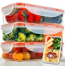 A2S Protection Bento Lunch Box 3pcs Meal Prep Containers Microwavable - BPA FREE
