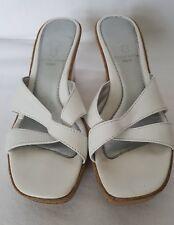 Ladies White Soft Genuine leather Upper Wedge Summer Slippers Sandals UK 4 EU 37