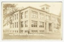 RPPC, Woman in front of stone NORTH BAKER SCHOOL, Baker, Oregon, ca1910s-20s