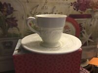 "Wedgwood-""PATRICIAN""-Demitasse Cup & Saucer~Cream W/Relief Pattern-FREE SHIPPING"