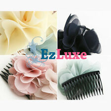 Fabric Flower Bow Hair Comb Pin Clip Dancer Ballet Wedding Bridal Prom Jewelry