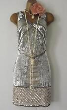 Vintage 20's Style Gatsby Flapper Charleston Downton deco bead sequin dress 10