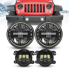 "7"" Black LED Headlights Halo Angel Eyes&4'' Fog Lights For Jeep Wrangler JK JKU"