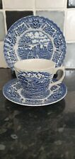 Vintage Old Country Castles Blue And White Trio. Cup, Saucer And Side Plate
