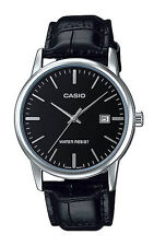 Casio MTP-V002L-1A Men's Standard Analog Leather Band Black Dial Date Watch