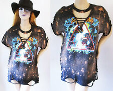 Def Leppard Deep v bleached distressed shirts dress or top S-XL Vintage look
