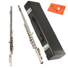 New Nickel Plated Silver School Band Flute C Tone 16 Keys Closed Hole with Case