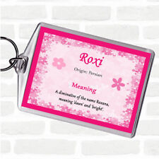 Roxi Name Meaning Bag Tag Keychain Keyring  Pink