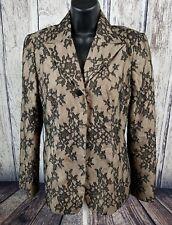 BCBG MaxAzria Women's Off Black Floral Lace Bowie Blazer Jacket Size 8.