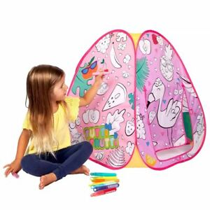 Playhut Doodle Tents TUTTI-FRUTTI Color-on Fabric Pop-Up Play Tent 8 Washable Ma