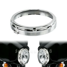 ALL CHROME 7'' Burst Headlamp Headlight Trim Ring Fit For Harley Touring 1996-13