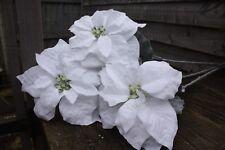3 x WHITE GLITTER  SILK LARGE POINSETTIA FLOWER 20cm LONG STEM GREY LEAVES