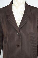 Briggs Womens Petite 14P Brown Striped 2 Button Suit Jacket Blazer