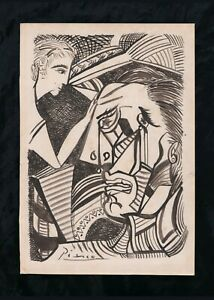 Picasso ink on paper, vintage, rare,