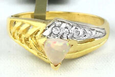 GENUINE 0.32 Cts Australian OPAL & DIAMONDS RING 10k YELLOW GOLD *New with Tag*