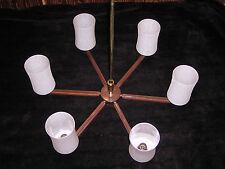 Decken Lampe Tütenlampe Kronleuchter 50er/60er Teakholz Messing WK Möbel Perfekt