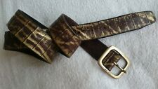 """Belt,MINORONZONI,Size 32""""-36"""",Gold/Brown,Genuine Leather,Made in Italy,Women's"""