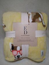 New Ellen Degeneres Twin Ultra Soft Blanket Yellow With Dog 60*90in