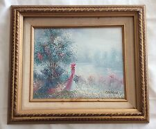 """Oil Painting """"Lady In Pink By Lake"""" Framed Impressionist Hancock Free Shipping"""