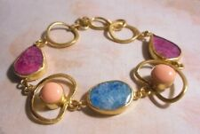 Gold tone chain bracelet with 5 real stones of blue, pink and purple.