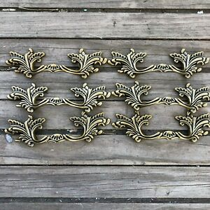 """3"""" Center French Provincial drawer pulls Shabby Chic Handle Brass NEW Lot of 6"""