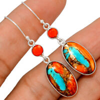 Spiny Oyster & Arizona Turquoise & Faceted Carnelian 925 Silver Earrings BE25371