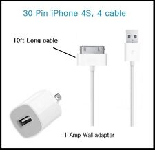 10 Ft Long 30 Pin USB Power cable Cord for iPhone 4s, 4,3 + Wall Charger (White)