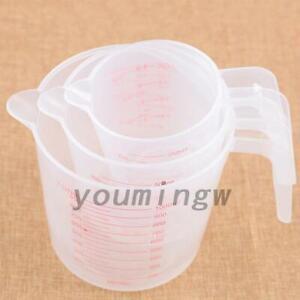 3 Sizes Measuring Cup Jug Clear Plastic Baking Kitchen Set Flour Water