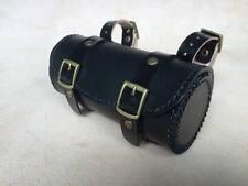 "Leather bicycle saddle bag ""HAND MADE"" Brompton ,Brooks,Vintage Bike (Black)"