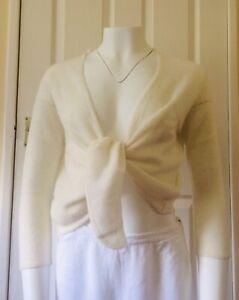 100% Cashmere Cardigan Tie Waterfall Cream Lightweight Shrug Size S Summer