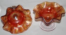 2 STUNNING RETRO ORANGE LUSTRE GLASS FRUIT SALAD ICE CREAM SUNDAE DISH BOWL