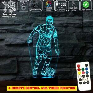 LIONEL MESSI NUMBER 10 FC BARCELONA  3D LED Night Light Lamp 7 Colour REMOTE