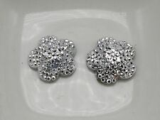 40 Silver Acrylic Flatback Dotted Flower Rhinestone Gem 15mm Flat back Resin