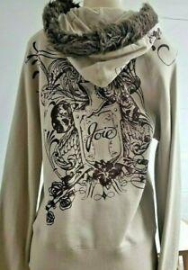 JOIE Faux Fur Hoodie Sweatshirt Poly Cotton Zipper Pocket L Beige