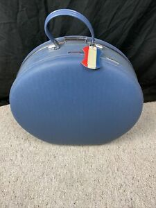 """Vintage American Tourister 19"""" Tall Round Blue Suitcase Luggage Travel TRI TAPER"""
