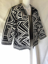 Chico's Black & White Ribbon Jacket Open Topper Blazer Cotton Linen Size 1 S M