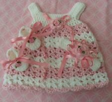 Handmade Crochet Set,Shoes Dress and  Headband 0-3 MO by Rocky Mountain Marty.