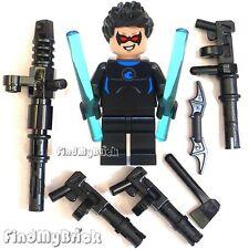 BM049W-B Lego Batman Blue Nightwing Minifigure with Custom Torso & Mess Weapons